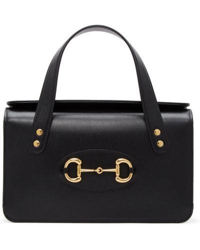 Skórzany czarny top z kieszeniami z łatami Gucci