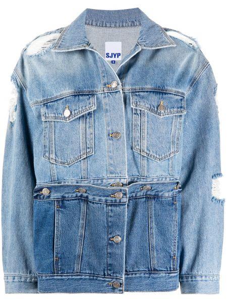 Классическая синяя джинсовая куртка с манжетами с воротником Sjyp