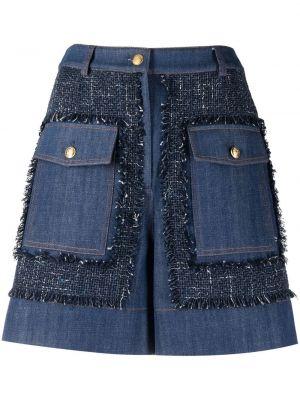 Хлопковые с завышенной талией джинсовые шорты свободного кроя Boutique Moschino