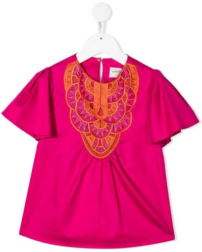Розовая блузка с короткими рукавами с вышивкой Alberta Ferretti Kids