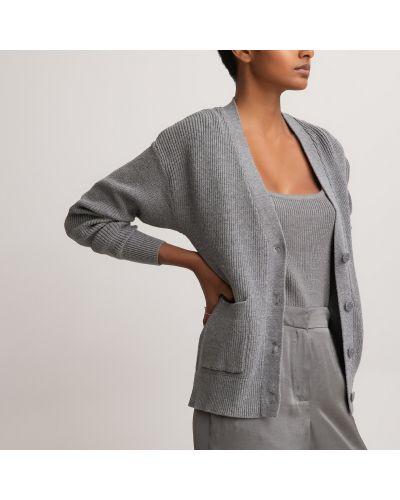 Серый длинный свитер на пуговицах с V-образным вырезом Laredoute