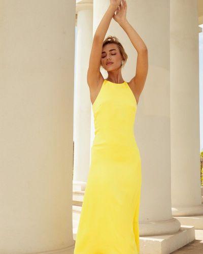Желтое шелковое платье Gepur