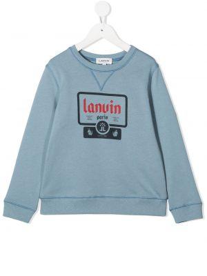 Хлопковый синий свитшот с манжетами с круглым вырезом Lanvin Enfant