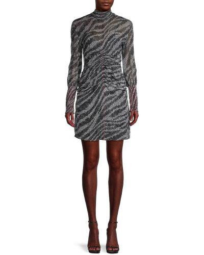 Czarna sukienka mini z długimi rękawami z jedwabiu Rag & Bone