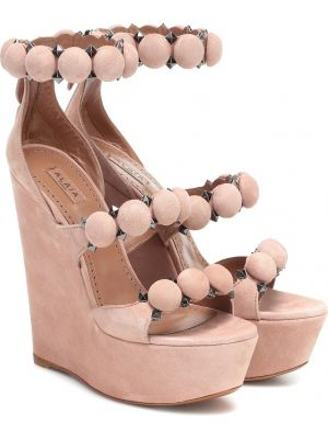 Розовые туфли на платформе Alaïa