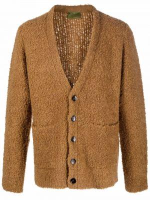 Brązowy sweter z dekoltem w serek Lardini