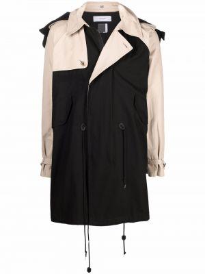 Klasyczny czarny długi płaszcz z kapturem Facetasm