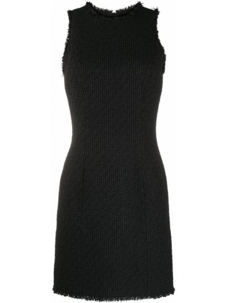 Шерстяное облегающее черное платье Balmain