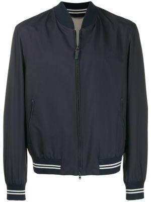 Кожаная куртка на молнии - синяя Brioni