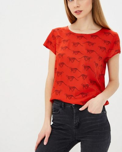 Блузка с коротким рукавом весенний красная Jacqueline De Yong