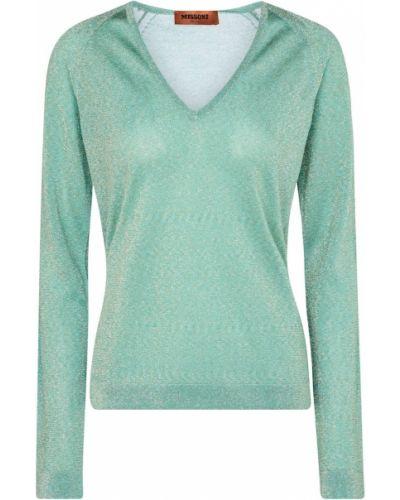 Зеленый свитер в полоску с V-образным вырезом Missoni
