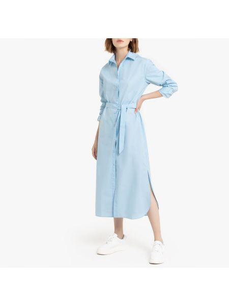 Платье миди классическое с поясом La Redoute