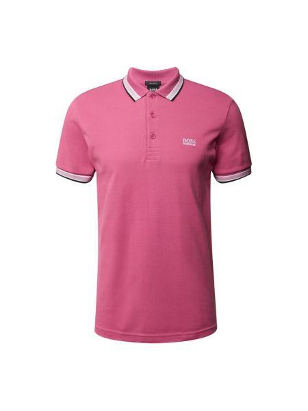 Różowy t-shirt w paski bawełniany Boss Athleisurewear