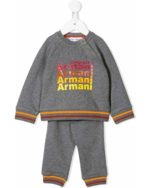 Żółty dres bawełniany z printem Emporio Armani Kids