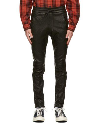 Czarny skórzany spodni fajki do spodni John Elliott