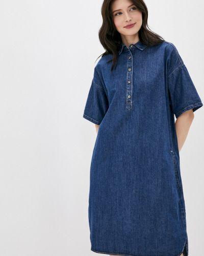 Свободное синее расклешенное джинсовое платье Finn Flare