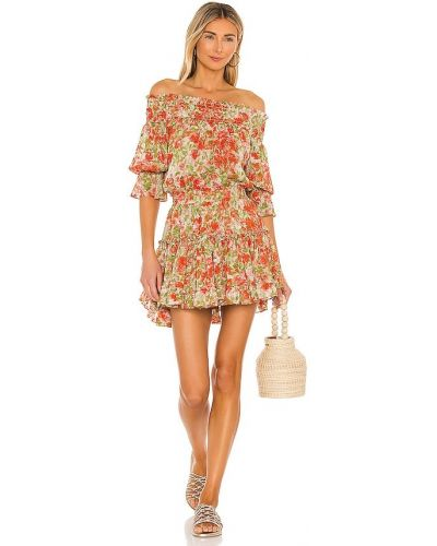 Оранжевое шифоновое платье с декольте Misa Los Angeles