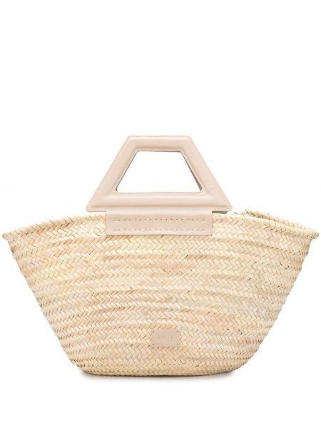 Бежевая соломенная сумка-тоут из натуральной кожи с заплатками Zeus+dione