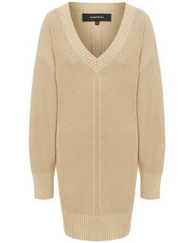 Хлопковый бежевый пуловер с V-образным вырезом Barbara Bui