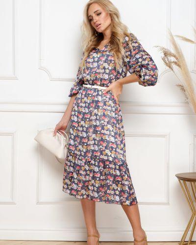 Шифоновое платье с V-образным вырезом на торжество на резинке Leleya