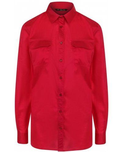Блузка с длинным рукавом с карманами хлопковая Loro Piana