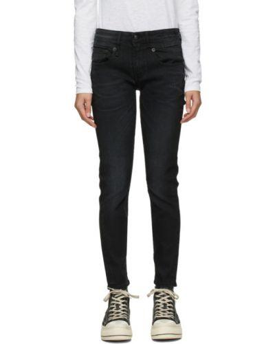 Зауженные черные джинсы-скинни с карманами R13