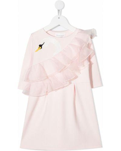Różowa sukienka długa tiulowa z długimi rękawami Charabia
