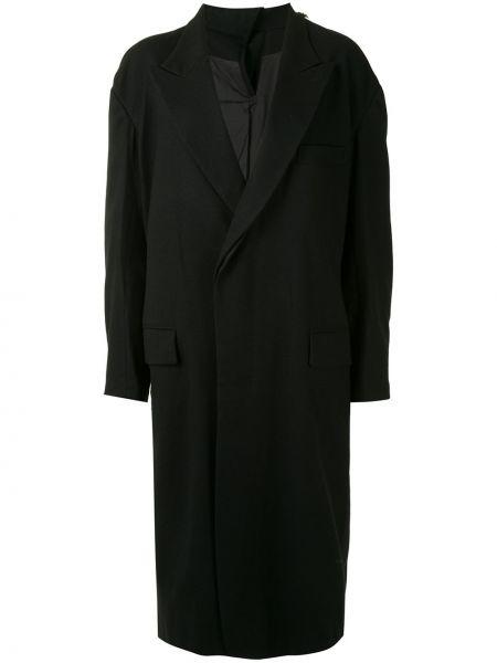 Шерстяное черное длинное пальто двубортное Y's
