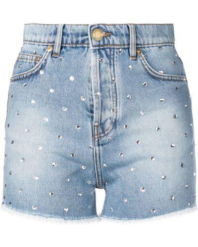 Джинсовые шорты с карманами со стразами на пуговицах Alexandre Vauthier