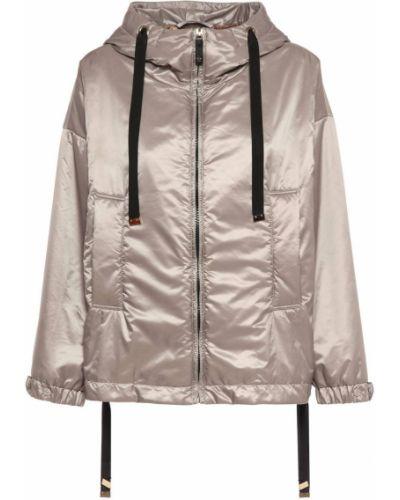 Серая водонепроницаемая куртка из верблюжьей шерсти с капюшоном Max Mara
