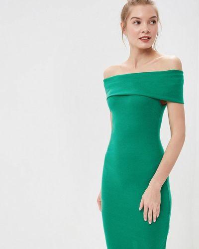 Платье с открытыми плечами зеленый City Goddess