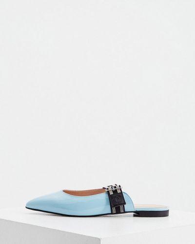 Кожаные сабо - голубые Pollini