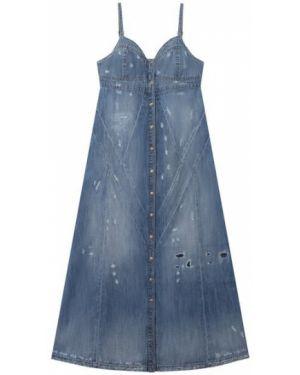 Хлопковое мягкое синее платье на кнопках Diesel