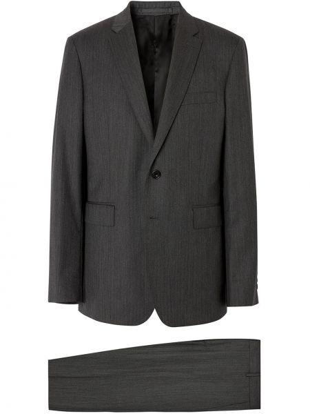 Wełniany kostium garnitur trójka z kieszeniami z dekoltem w szpic Burberry