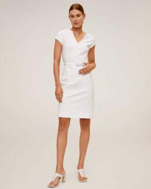 Платье мини футляр с V-образным вырезом Mango