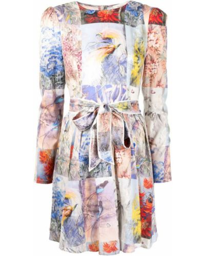 Biała sukienka midi boho z długimi rękawami Zimmermann