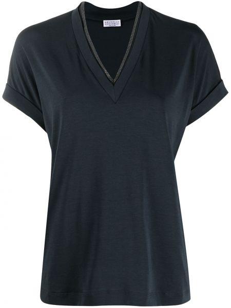 Bawełna niebieski z rękawami bluzka Brunello Cucinelli