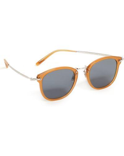 Желтые солнцезащитные очки круглые очищающие Oliver Peoples Eyewear