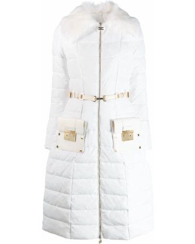 Длинное пальто белое с воротником Elisabetta Franchi