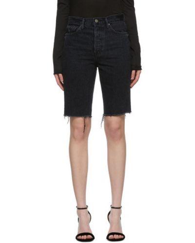 Текстильные черные джинсовые шорты с карманами с заплатками Grlfrnd