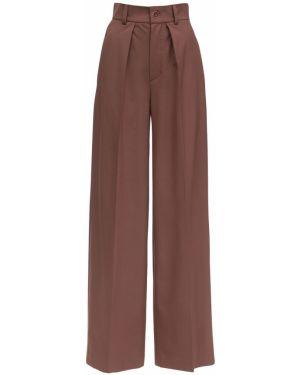 Brązowe spodnie z wysokim stanem wełniane Lesyanebo