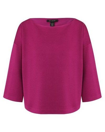 Свободные фиолетовый шелковый пуловер свободного кроя St. John