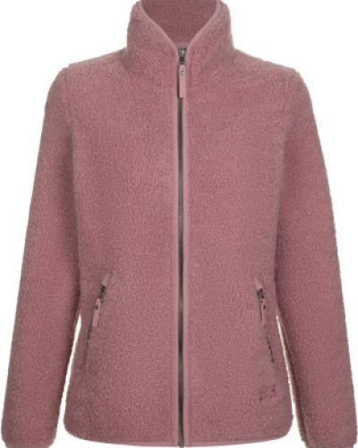 Шерстяной приталенный розовый джемпер на молнии Jack Wolfskin