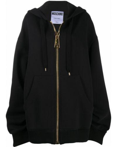 Черное длинное пальто оверсайз с капюшоном Moschino