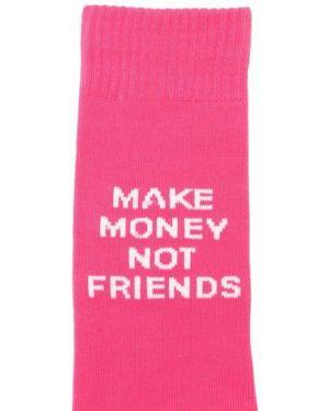 Хлопковые розовые носки с принтом с рисунком Make Money Not Friends