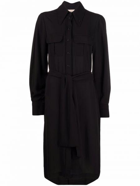 Czarna sukienka długa z długimi rękawami Blanca Vita