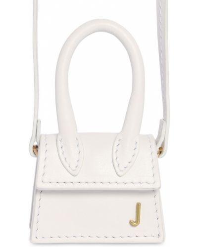 Белая кожаная сумка металлическая Jacquemus
