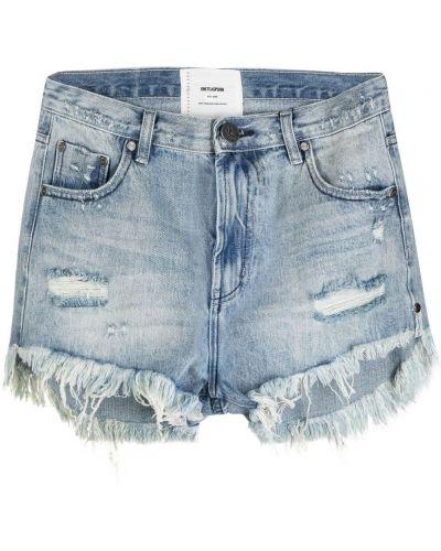 Хлопковые джинсовые шорты с поясом с отворотом One Teaspoon