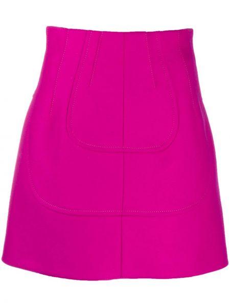 Прямая розовая с завышенной талией юбка мини на молнии N°21