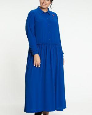 Шифоновое плиссированное платье на пуговицах с воротником прима линия